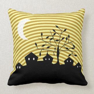 Strange village at night cushion