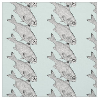 Strange vintage fish drawing fabric