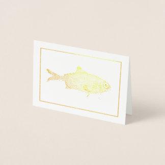Strange vintage fish drawing foil card