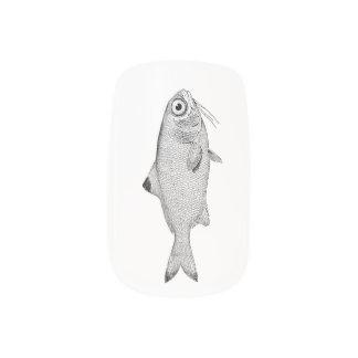 Strange vintage fish drawing minx nail art
