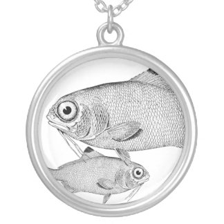 Strange vintage fish drawing silver plated necklace