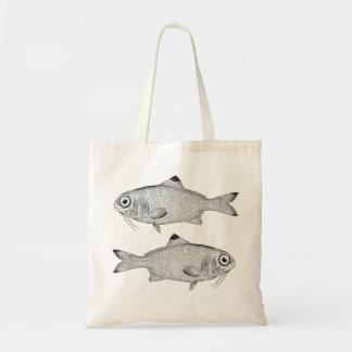 Strange vintage fish drawing tote bag