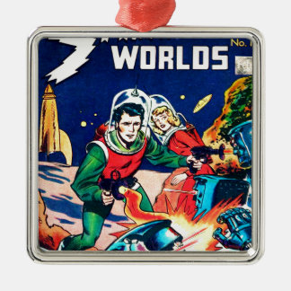 Strange Worlds -- Angry Robots Metal Ornament