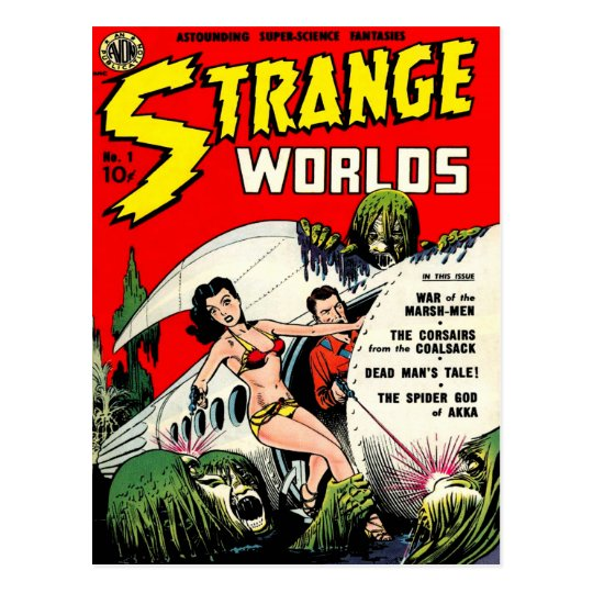 Old Comic Book Cover Texture : Strange worlds cool vintage comic book cover art postcard
