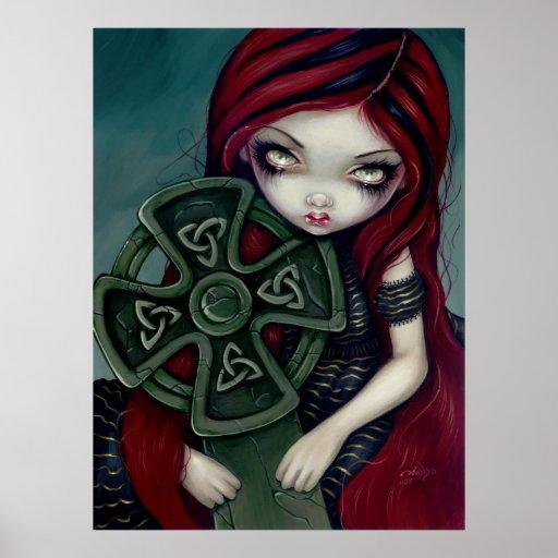 Strangely Lonely gothic fairy celtic cross Print