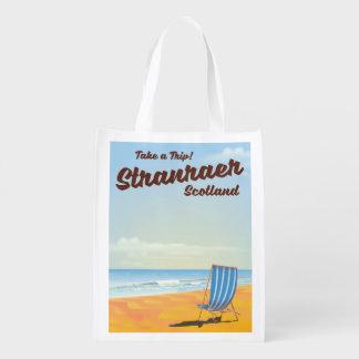 Stranraer Scotland vintage travel poster Reusable Grocery Bag