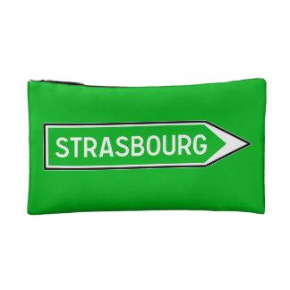 Strasbourg, Road Sign, France Makeup Bags