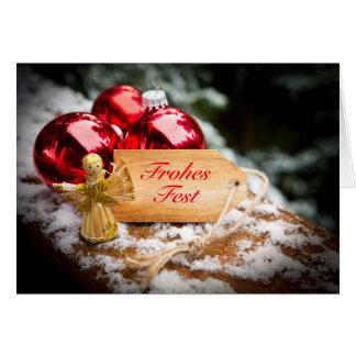 Straw angel, Christmas balls and 'glad Fest' Card