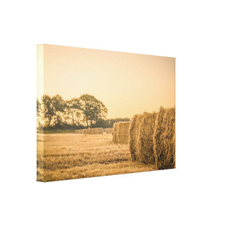 Straw bales in a countryside sunrise canvas print