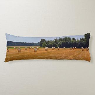 Straw Bales in Field Body Cushion