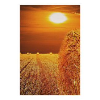 Straw Bales Sunset Poster