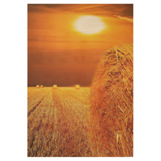 Straw Bales Sunset Wood Poster