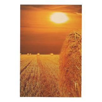 Straw Bales Sunset Wood Print