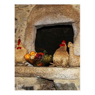 Straw chickens and fruit on mantelpiece, Spain Postcard