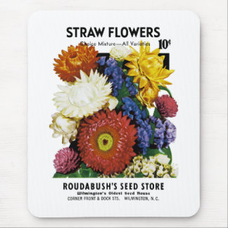 Straw Flowers Seed Packet Label Mouse Pad