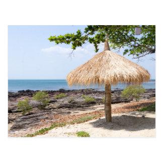 Straw parasol, Koh Lanta, Krabi, Thailand Postcard