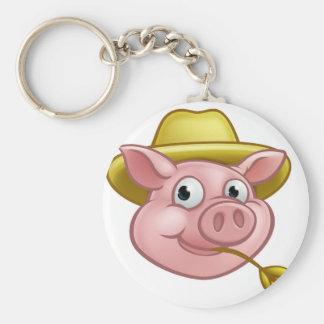Straw Pig Cartoon Character Key Ring