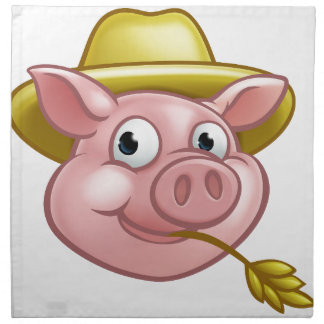 Straw Pig Cartoon Character Napkin