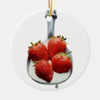 Strawberries and Cream Ceramic Ornament