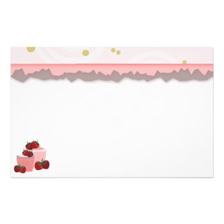 Strawberries And Cupcakes Art Stationery Design