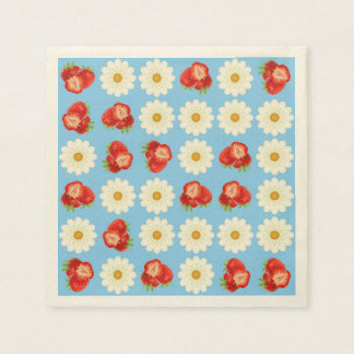 Strawberries and daisies paper napkin