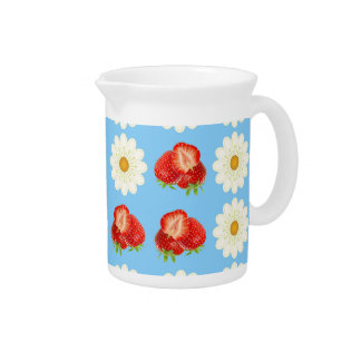 Strawberries and daisies pitcher