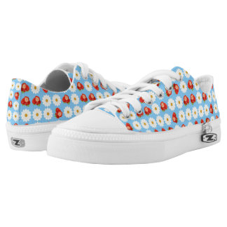 Strawberries and daisies printed shoes