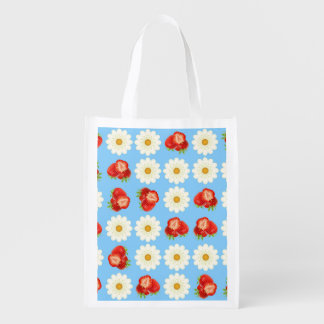 Strawberries and daisies reusable grocery bag