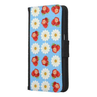 Strawberries and daisies samsung galaxy s6 wallet case