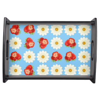 Strawberries and daisies serving tray