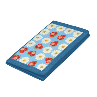Strawberries and daisies tri-fold wallet