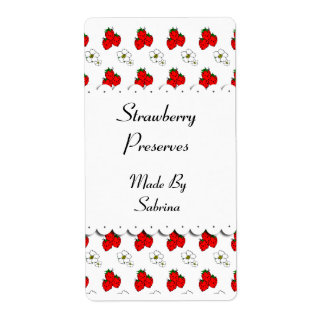 Strawberries and Flowers Custom Label