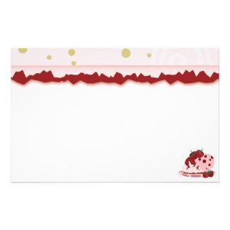 Strawberries And Ice Cream Art Stationery