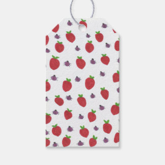 Strawberries and Lady Bugs Fruity Pattern Gift Tags