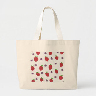 Strawberries and Lady Bugs Fruity Pattern Large Tote Bag