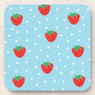 Strawberries and Polka Dots Blue Coaster