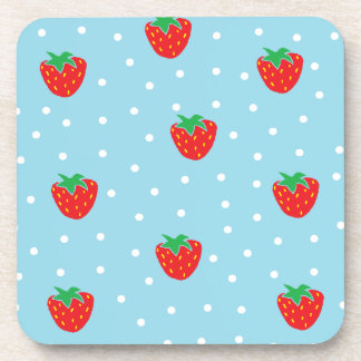Strawberries and Polka Dots Blue Coasters
