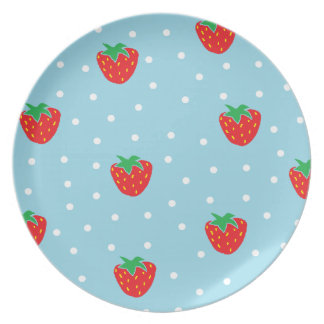 Strawberries and Polka Dots Blue Party Plates