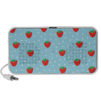 Strawberries and Polka Dots Blue Travel Speaker