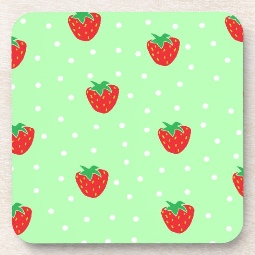 Strawberries and Polka Dots Mint Green Drink Coaster
