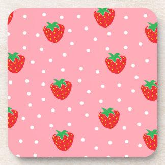 Strawberries and Polka Dots Pink Beverage Coaster