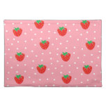 Strawberries and Polka Dots Pink Place Mat