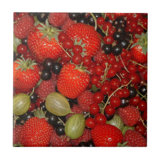Strawberries, and summer fruits small square tile