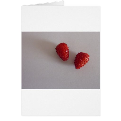 Strawberries as heart greeting card