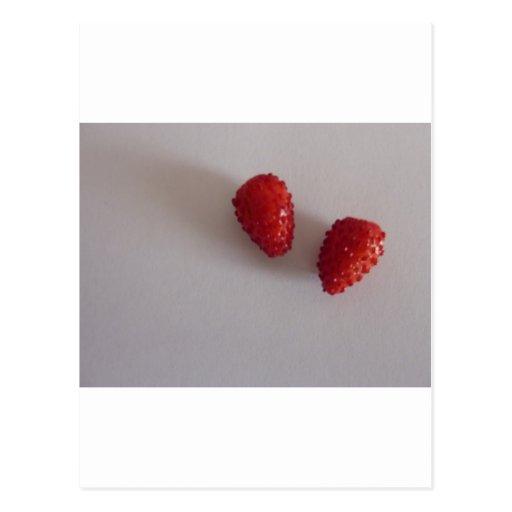 Strawberries as heart postcard
