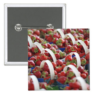Strawberries at a market stall 15 cm square badge