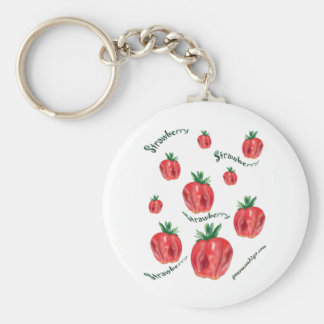 Strawberries Basic Round Button Key Ring