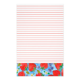 Strawberries Blueberries Bees Red Lined Customised Stationery
