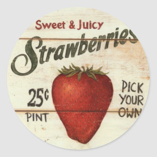 Strawberries Classic Round Sticker