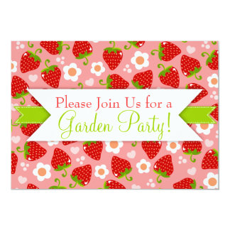 Strawberries Custom Party Invitations